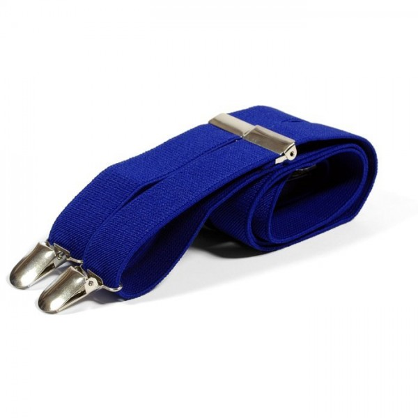 Unisex Plain Royal Blue 25mm Fashion Braces