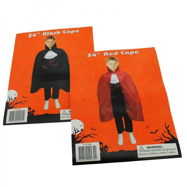 "Childrens 34"" Black Cape For Halloween Dracula Look"