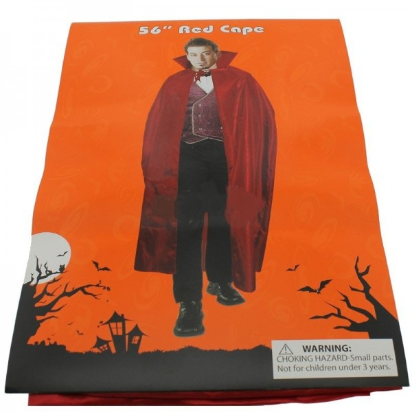 """Adults 56"""" Red Cape For Halloween Dracula Look"""