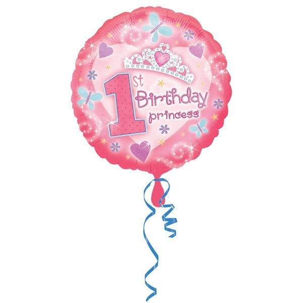 Anagram 18 Inch Circle Foil Balloon - 1st Birthday Princess