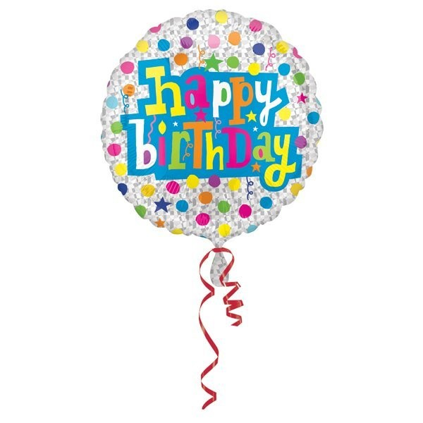 Anagram 18 Inch Circle Foil Balloon - Birthday With Diamonds