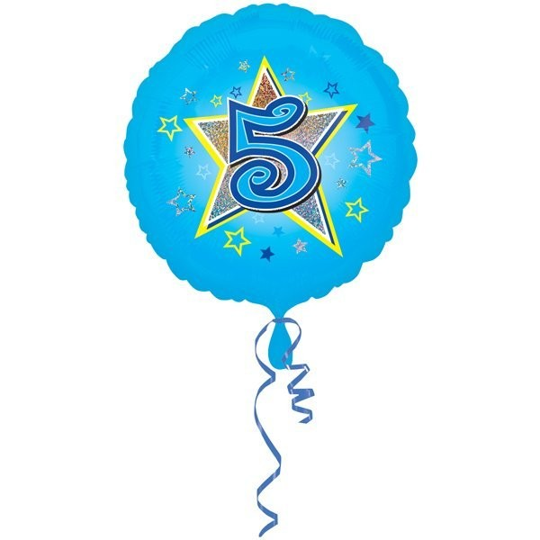 Anagram 18 Inch Circle Foil Balloon - Blue Stars 5 Holo