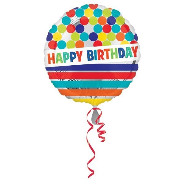 Anagram 18 Inch Circle Foil Balloon - Happy Birthday Dots & Stripes On Silver