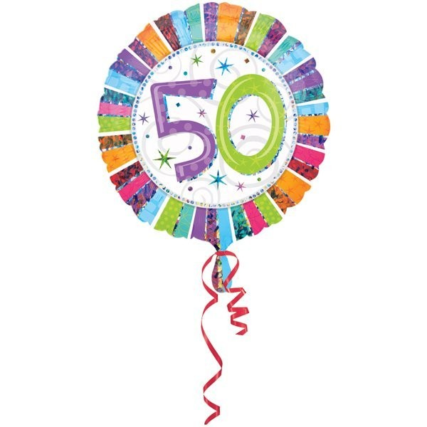 Anagram 18 Inch Circle Foil Balloon - Prismatic Radiant Birthday 50