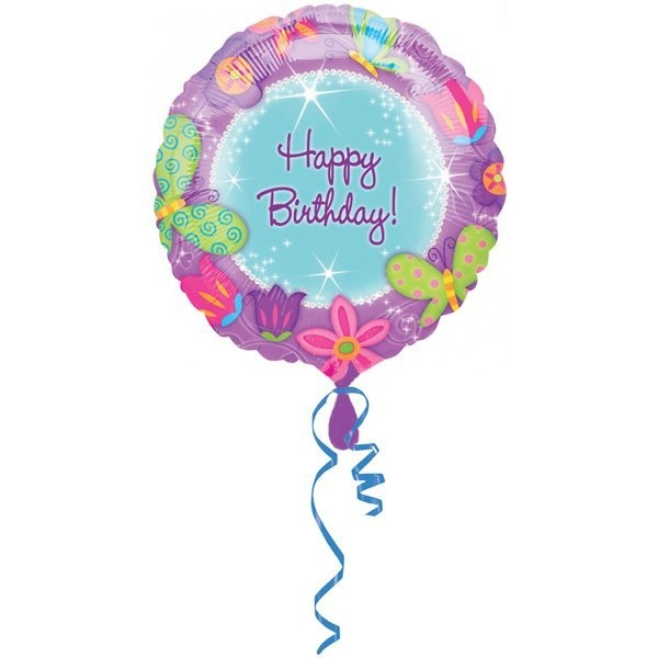 Anagram 18 Inch Circle Foil Balloon - Shimmering Butterflies Birthday