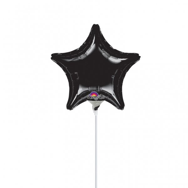 Anagram 9 Inch Star Foil Balloon - Black