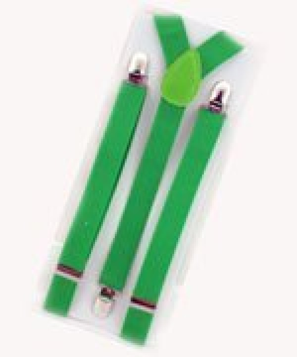 Unisex Plain Neon Green 25mm Fashion Braces