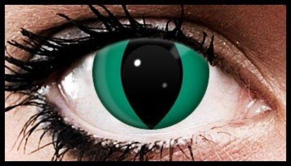 Green Cat Crazy Coloured Contact Lenses (90 Day Lenses)