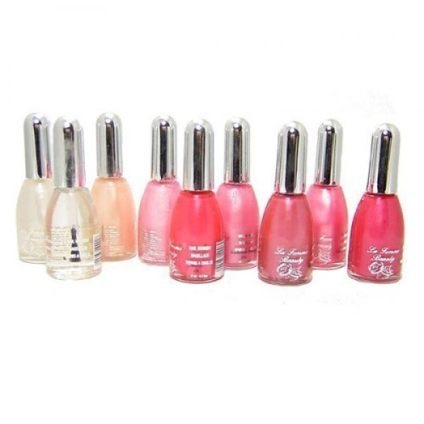 La Femme Set of 9 Nail Polish In Pink And Clear Set Tray 1