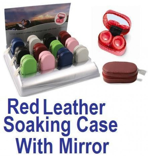 Red Leather Contact Lens soaking Case With Mirror