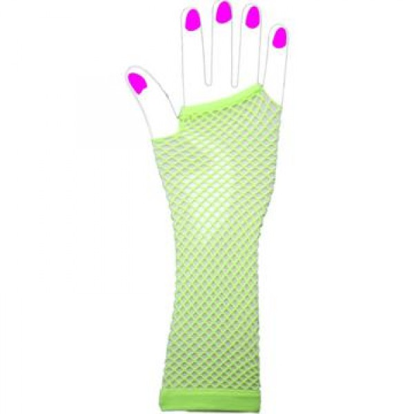 Two Long Neon Fishnet Fingerless Gloves one size - Green