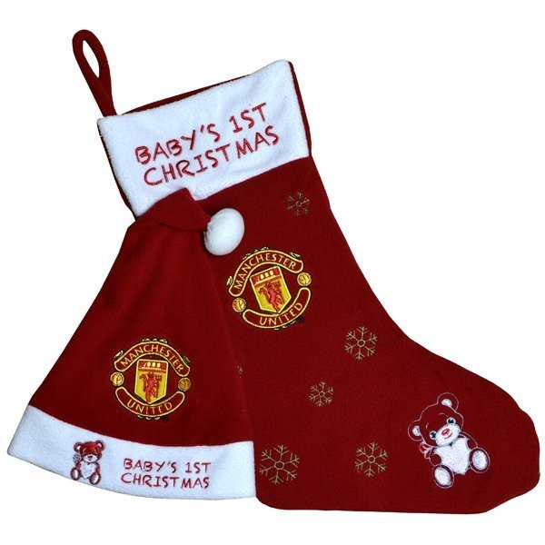 Manchester United Baby@@s 1st Xmas Hat & Stocking