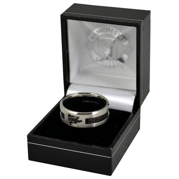 Manchester United Black Inlay Ring - Large