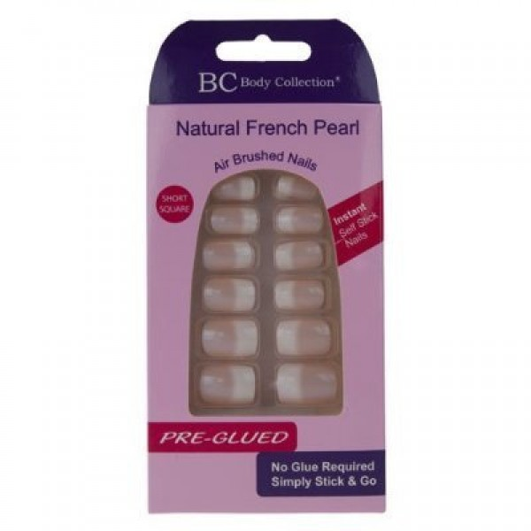 Body Collection Natural French Pearl Nails Short Square PreGlued 1075