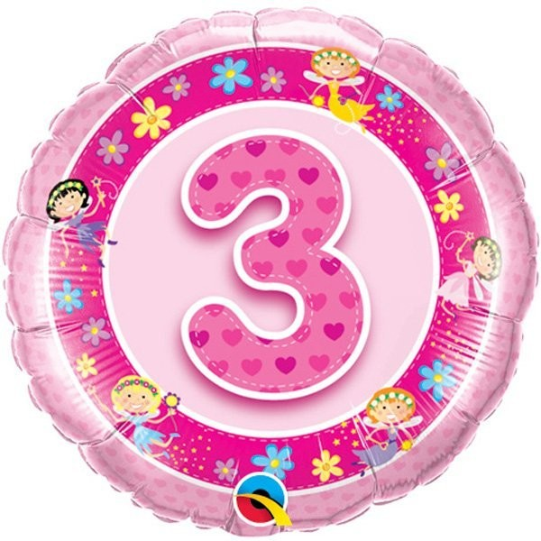 Qualatex 18 Inch Round Foil Balloon - Age 3 Pink Fairies