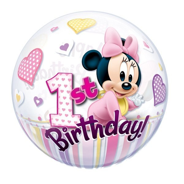 Qualatex 22 Inch Single Bubble Balloon - Minnie Mouse 1st Birthday