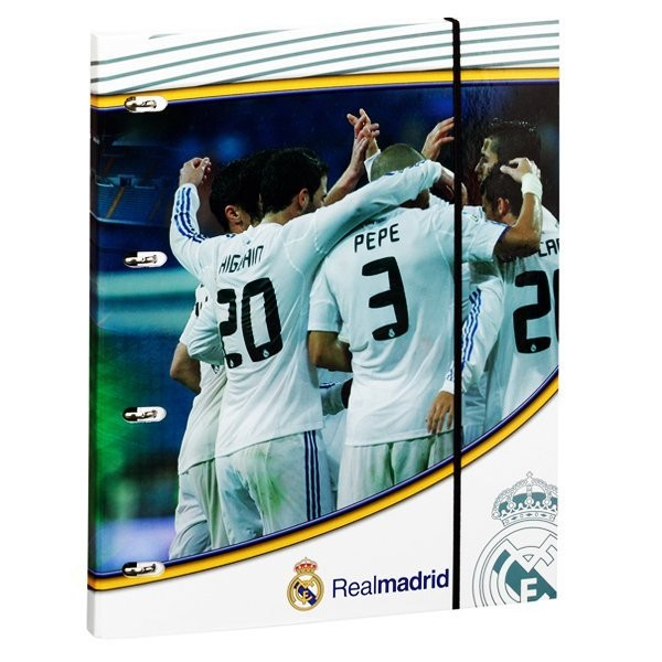 Real Madrid A4 Cardboard Ring Binder With 80 Refill Sheets -2PK