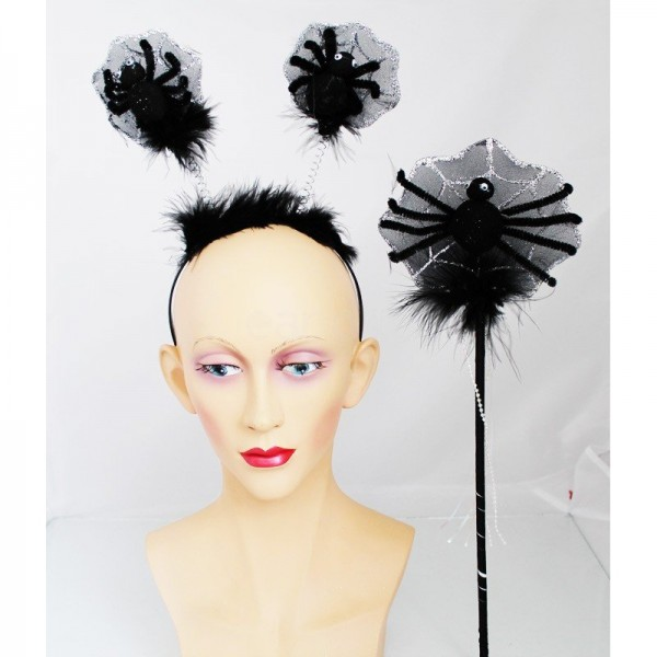 Black Spider In Spider Web Design Headband & Wand