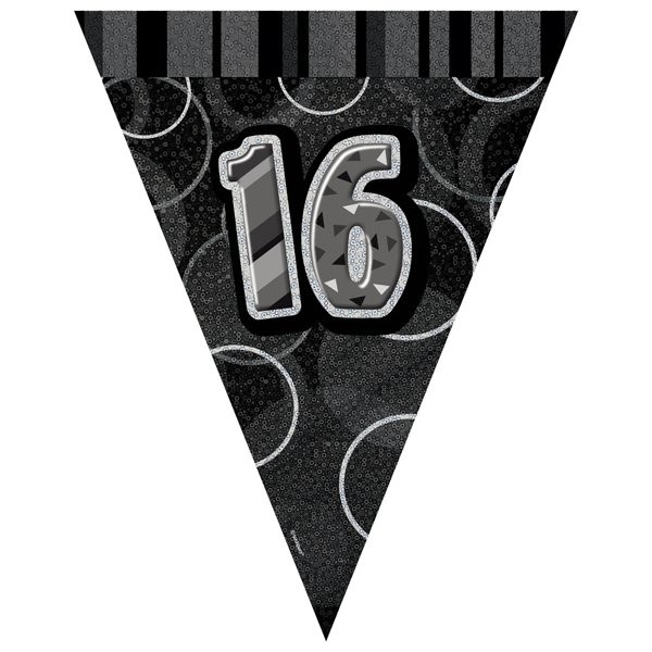 Unique Party Black-Silver Pennant Bunting - 16
