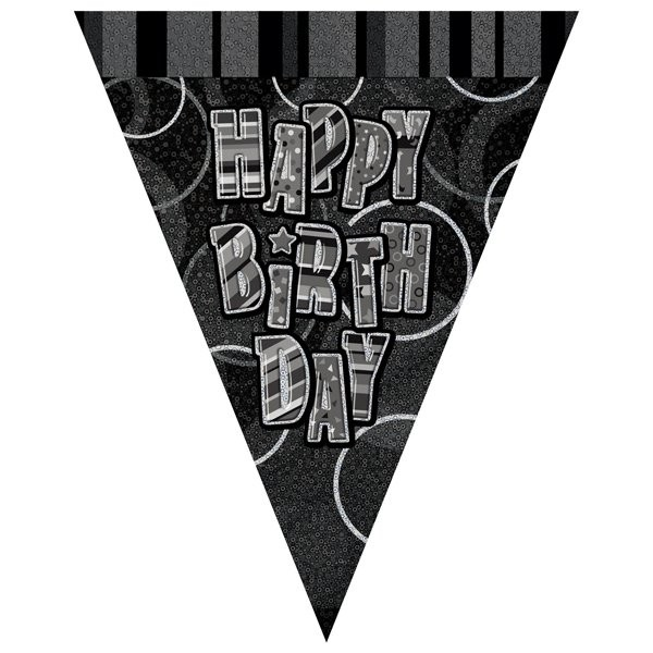 Unique Party Black-Silver Pennant Bunting - Birthday