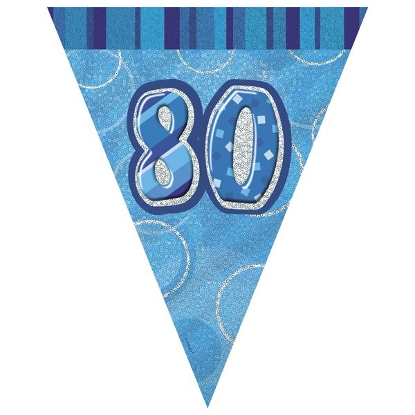 Unique Party Blue Pennant Bunting - 80