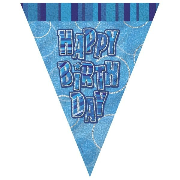 Unique Party Blue Pennant Bunting - Birthday