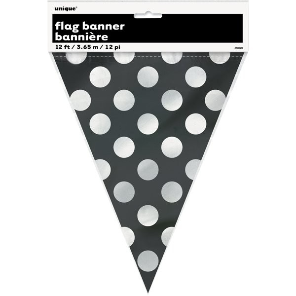 Unique Party Dots Bunting - Midnight Black