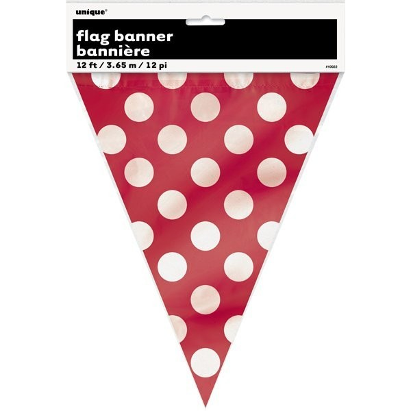 Unique Party Dots Bunting - Ruby Red
