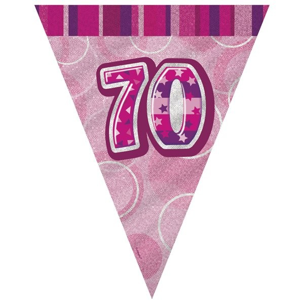 Unique Party Pink Pennant Bunting - 70