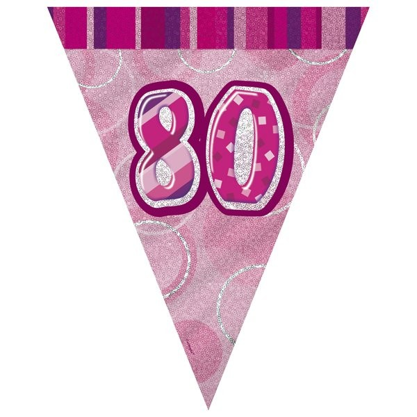 Unique Party Pink Pennant Bunting - 80