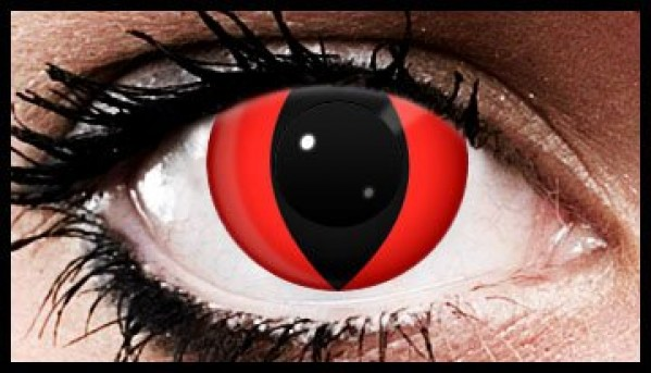 1 Day Use Vampire Red Cat Coloured Contact Lenses (1 Day)