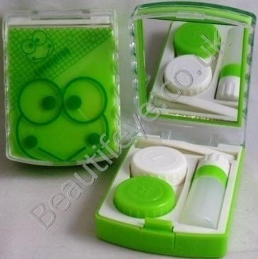 Green Froggy Designer Contact Lens Travel Kit With Mirr