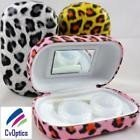 Pink Leopard Print Contact Lens Storage Soaking Travel Kit