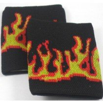 Black with Fire Flames Design Sweatband / Armband