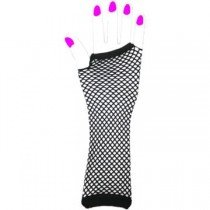 Two Long Neon Fishnet Fingerless Gloves one size - Black