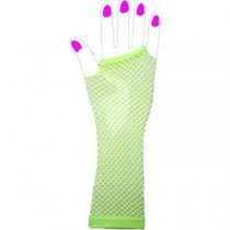 Two Long Neon Fishnet Fingerless Gloves one size - Yellow