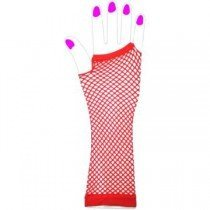 Two Long Neon Fishnet Fingerless Gloves one size - Red