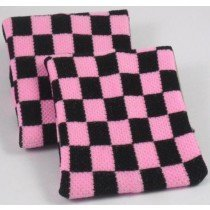 Black and Pink chequered  Board Design Sweatband Armband