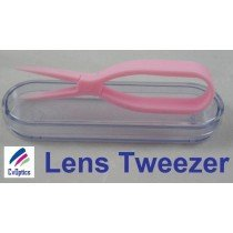 Pink Scissor Style Tweezers For Handling Contact Lenses