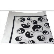Black and White (White Base) Yin Yang Bandana 100% Cotton