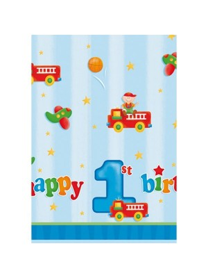 Creative Party Plastic Tablecover - Fun At 1 Boy