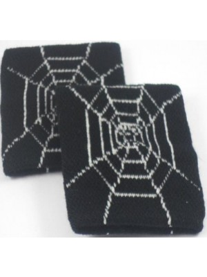 Black with Spiderweb Cobweb Design Sweatband / Armband