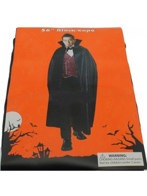 "Adults 56"" Black Cape For Halloween Dracula Look"