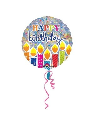 Anagram 18 Inch Circle Foil Balloon - Shimmer Birthday Candles