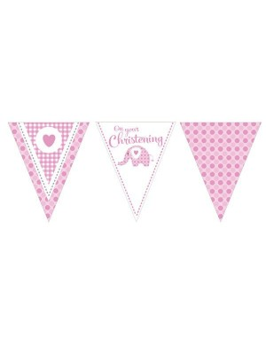 Creative Party 12 Foot Christening Banner - Elephant Pink