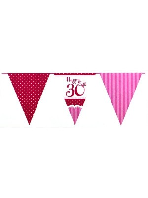 Creative Party 12 Foot Perfectly Pink Bunting - 30th