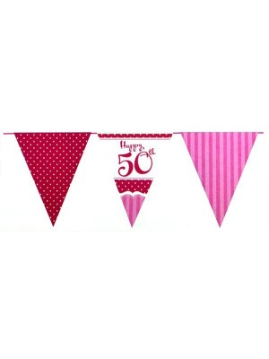 Creative Party 12 Foot Perfectly Pink Bunting - 50th