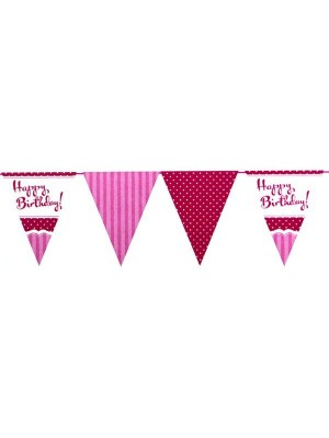 Creative Party 12 Foot Perfectly Pink Bunting - Birthday