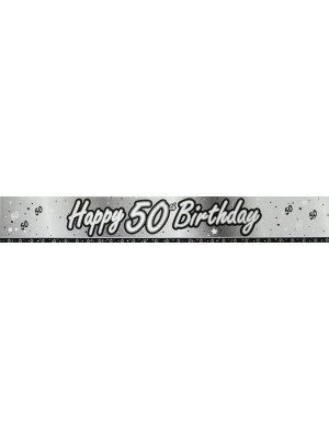 Creative Party 9 Foot Black Foil Banner - 50th