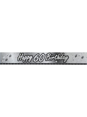 Creative Party 9 Foot Black Foil Banner - 60th
